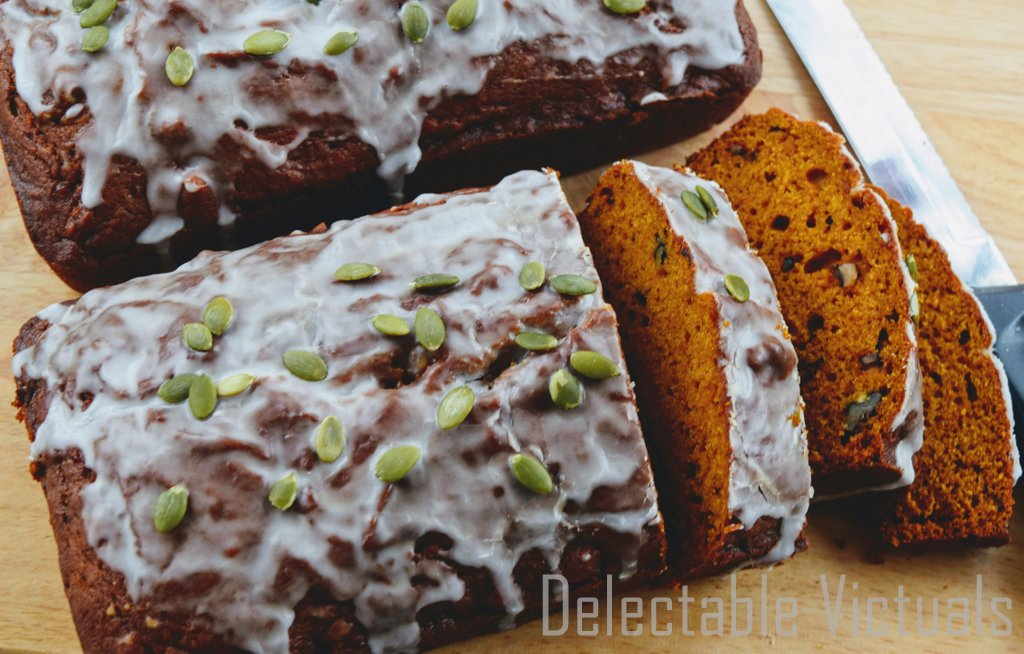 moist Pumpkin Walnut Bread maple icing