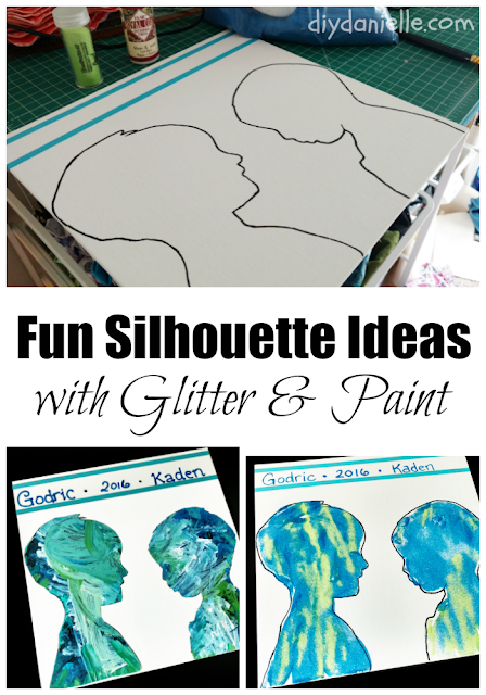 Fun silhouette idea that use glitter and paint.