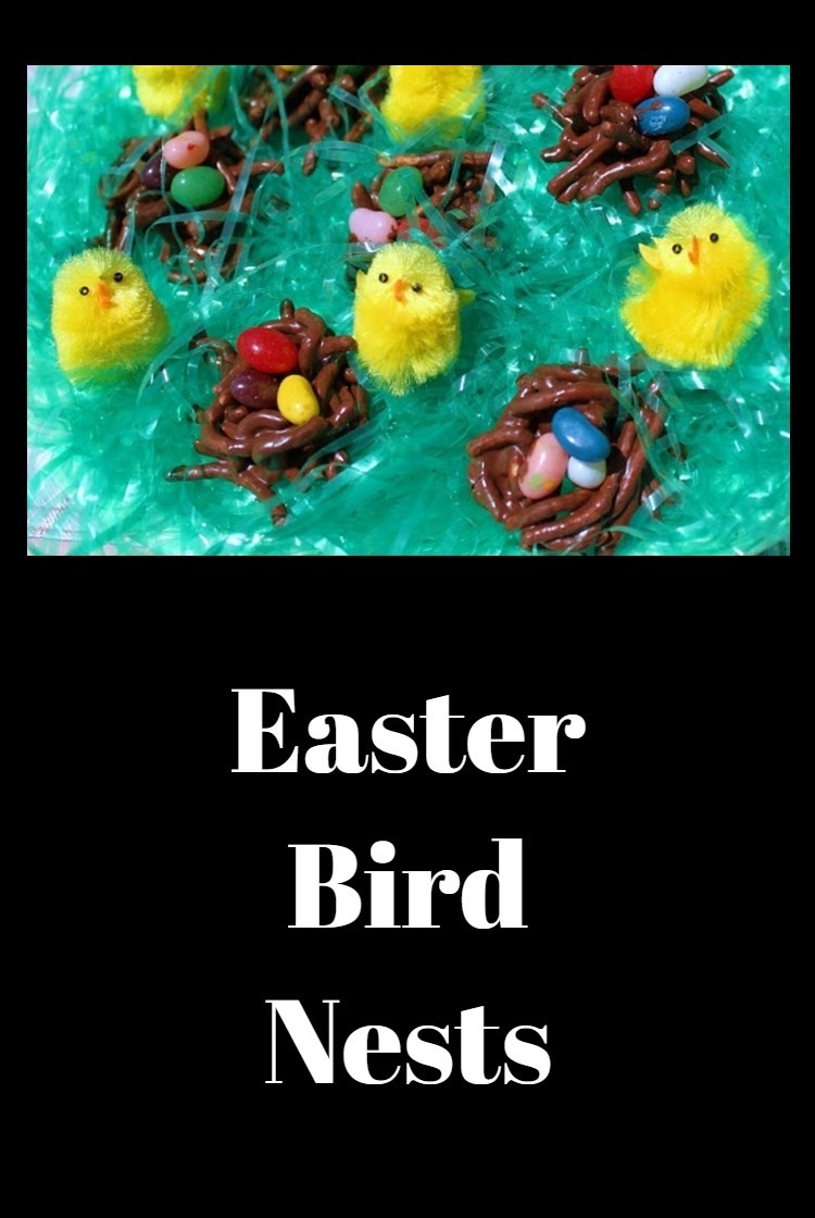 A fun project using food for the kids at Easter. Chocolate covered  chow mein noodle treats with jelly beans to make bird nests