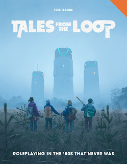 The cover of the rule book. It shows a painting of four children in their early teens, dressed in winter coats and hats with backpacks and bicycles, standing in a field of yellow grasses and cedar saplings, looking away from the viewer into the distance at three large cooling towers, slightly obscured by fog, with futuristic lights on the tops. The title is printed in white across the top, and along the bottom, it reads, 'Roleplaying in the '80s that never was.'