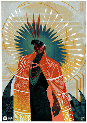 Stylised illustration of a tribal-style, caped person with rays and halos emanating from his head