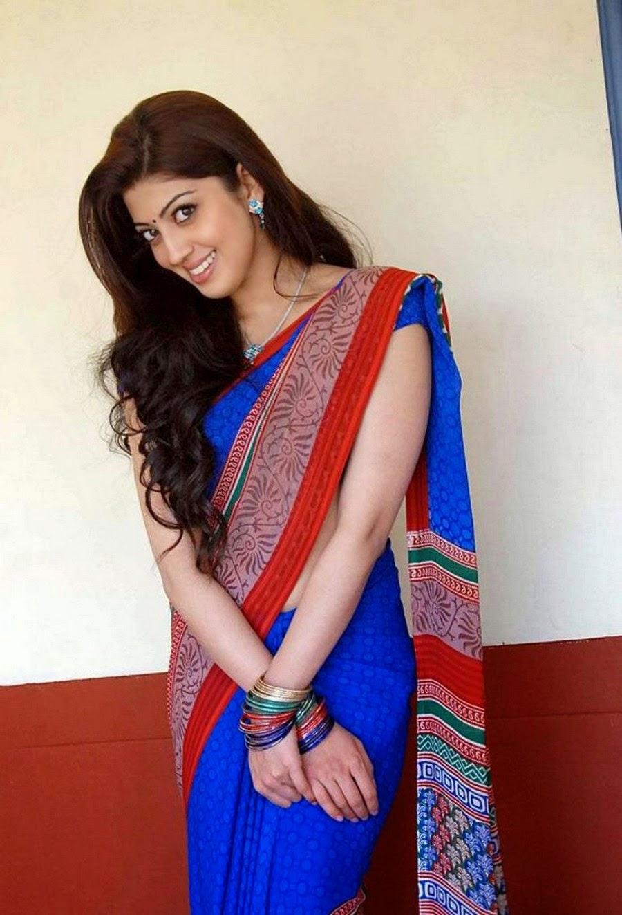 Sexy South Indian Actress Pranitha Photos In Blue Saree -5792