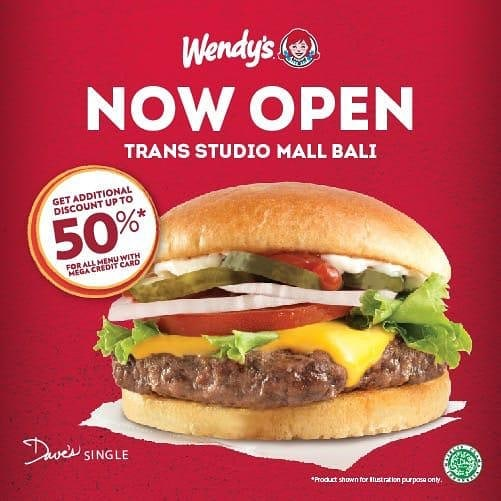 #Wendys - #Promo Opening DIskon Hingga 50% Pakai Kredit Mega di TSM Bali