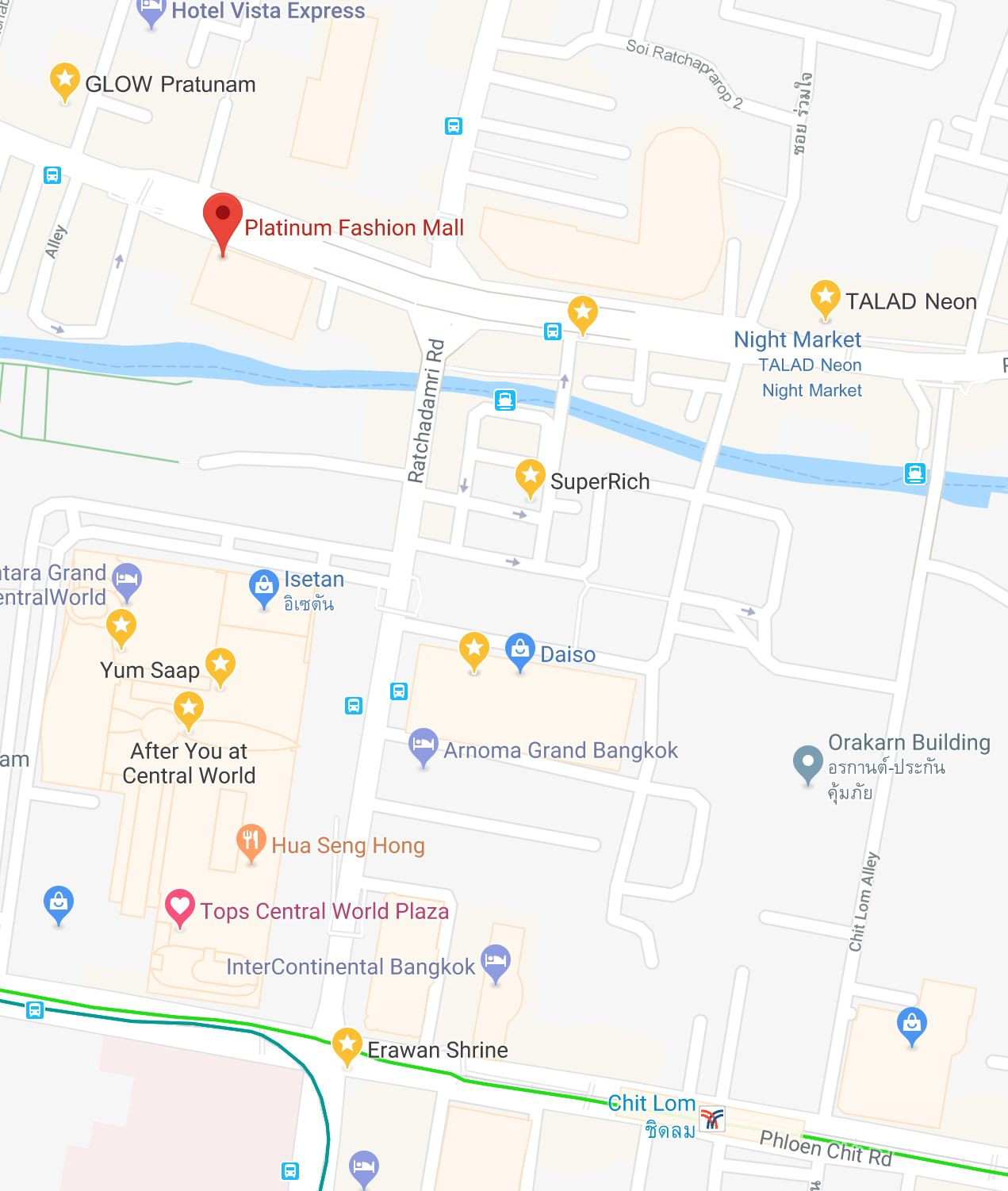Overcome life bangkok d2 pratunam area and talad neon night market chit lom bts surrounding area pic source google map gumiabroncs Image collections