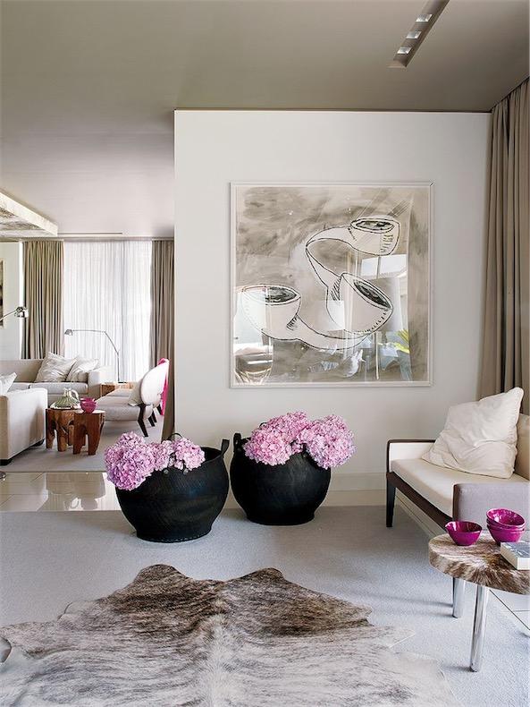 cestas con hortensias en el salon chicanddeco