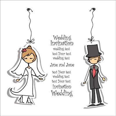 vector invitacion boda tipo dibujo animado