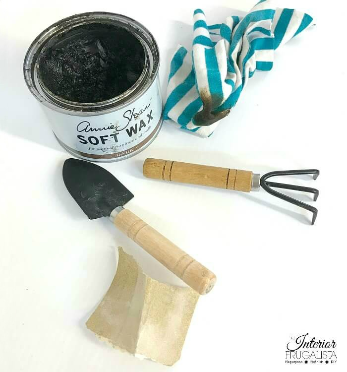 DIY Spring Wreath Aged Mini Garden Tools