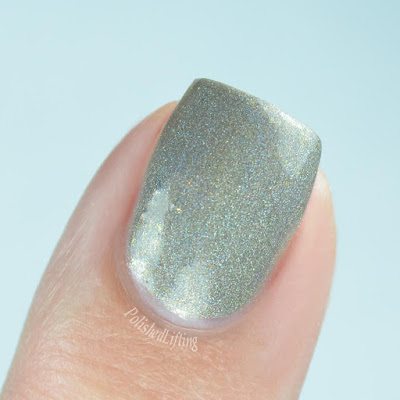 gray holo single nail close up