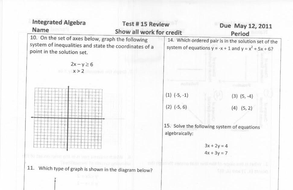 Mr. Napoli's Algebra: Test # 15 Review