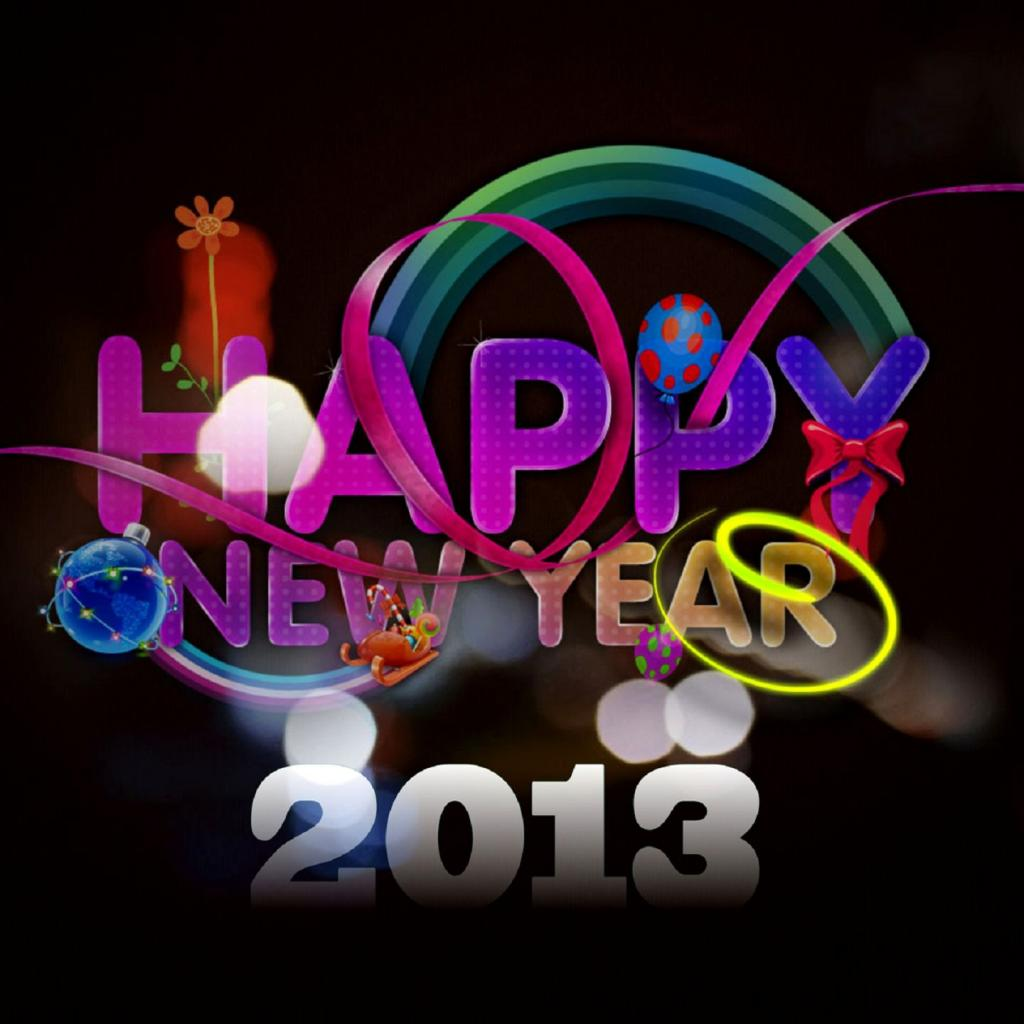 colorful greeting happy new year 2013 free wallpaperbackground for apple ipad to download click on the image