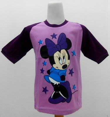 Kaos Raglan Anak Karakter Minnie Mouse 3 Ungu Muda