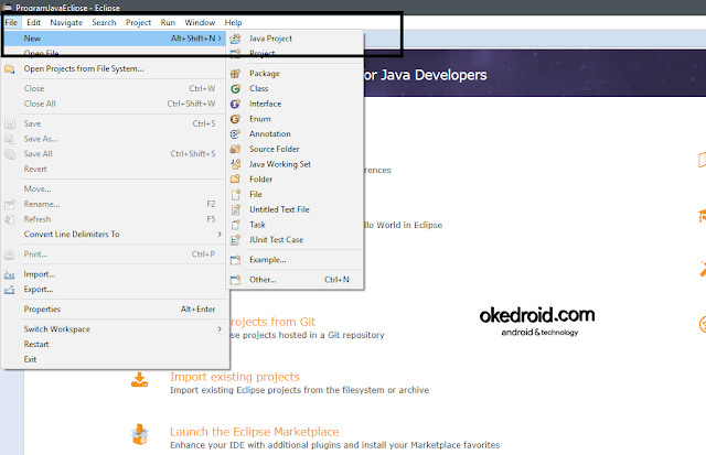 New > Java Project Eclipse IDE