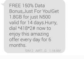 Airtel new 150% bonus offer gives 1.8GB data at the price of N500 only