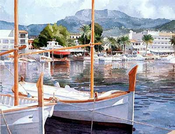 Juan V. Aguilar Caballero, Puerto de Sóller, Mallorca en Pintura, Mallorca pintada, Paisajes de Mallorca, Mallorca en Pintura