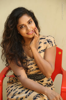Telugu Actress Karunya Chowdary Stills in Short Dress at ATM Not Working Press Meet  0211.jpg
