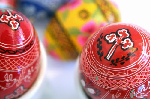 red colored easter egg decoration