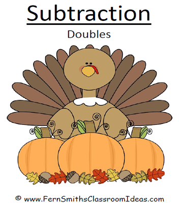 Fern Smith's Classroom Ideas FOREVER FREE Thanksgiving Subtraction Doubles Center Game and Interactive Notebook Activity.