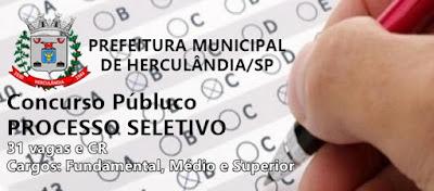 Prefeitura de Herculândia (SP) lança editais de concurso para 31 vagas