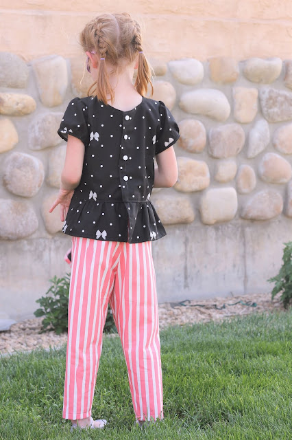 Sweet outfit with Polka Dot Peplum Top, Trendsetter Joggers and free little girl purse pattern