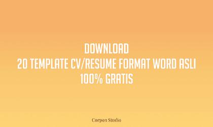 Download 20 Template CV Word 100% Gratis