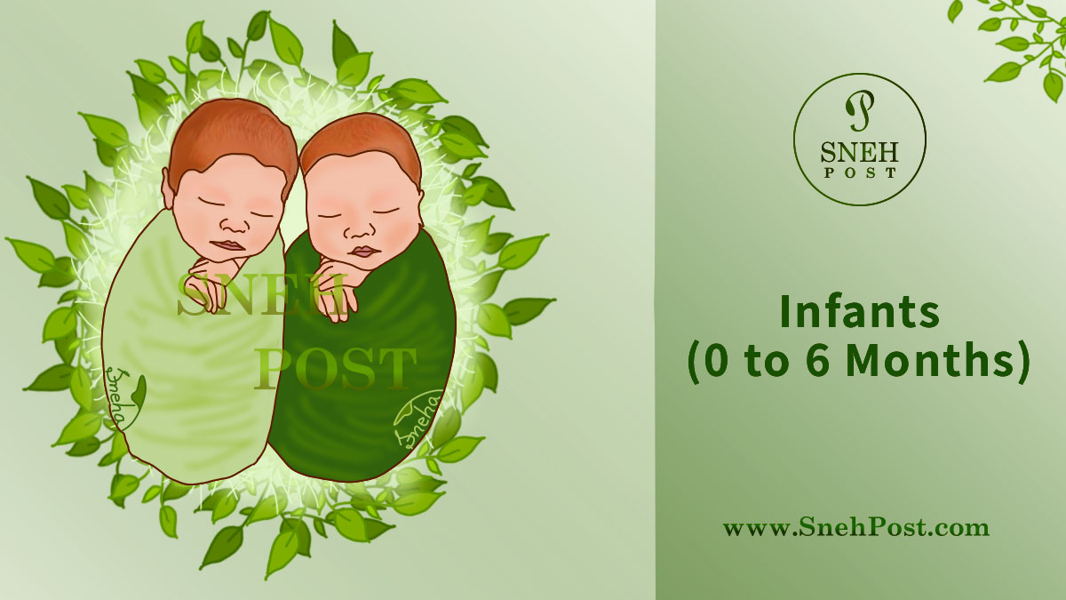 0 to 6 months old infants' health guide: Cute baby boy and girl sleeping wrapped in the green clothes on furs and green leaves bed in infancy