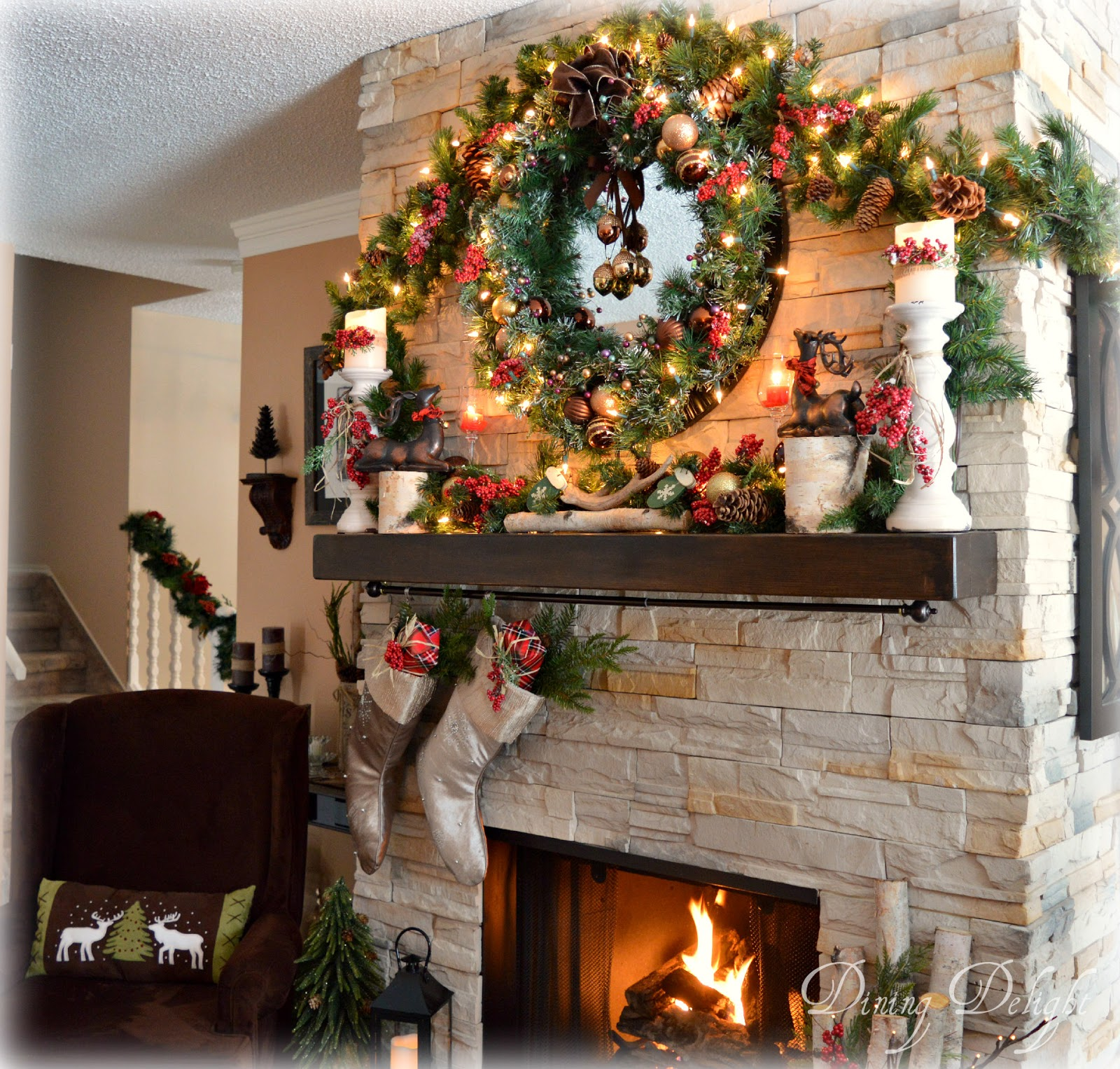 Dining Delight Christmas Fireplace Hearth