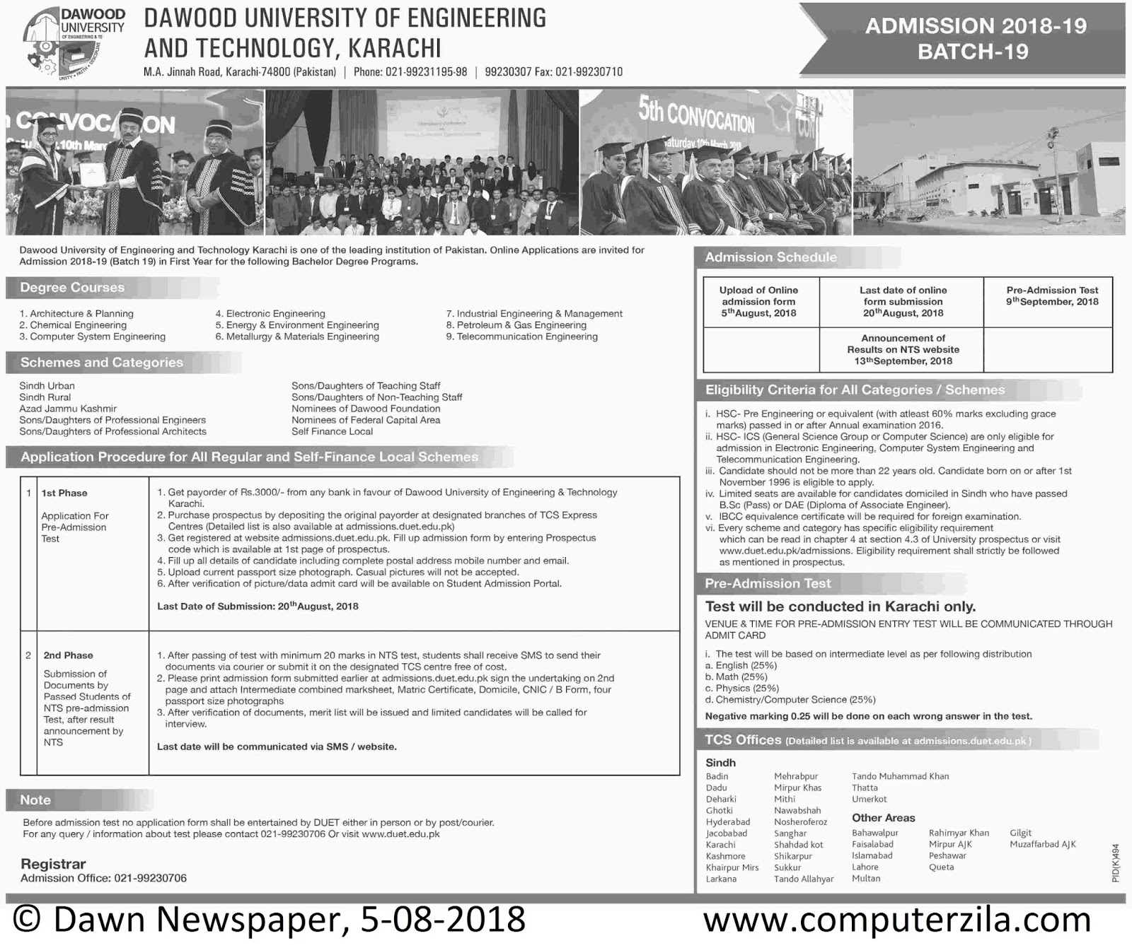 Admissions Open For Fall 2018 At DUET Karachi Campus