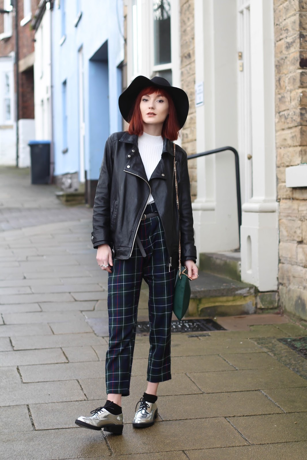 515f73c8 *ALL SAINTS LEATHER JACKET: c/o JOHN LEWIS / FLOPPY HAT, RIBBED WHITE TOP,  *GREEN CROSS BODY BAG (similar): TOPSHOP / GREEN CHECKED TROUSERS: ASOS ...