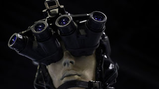 Traditional night-vision goggles are displayed on a at a military conference in Florida.  Photo: Bloomberg