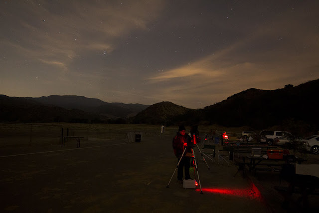 Setting up at Bob Swenson Field in this 10 second exposure (Source: Palmia Observatory)