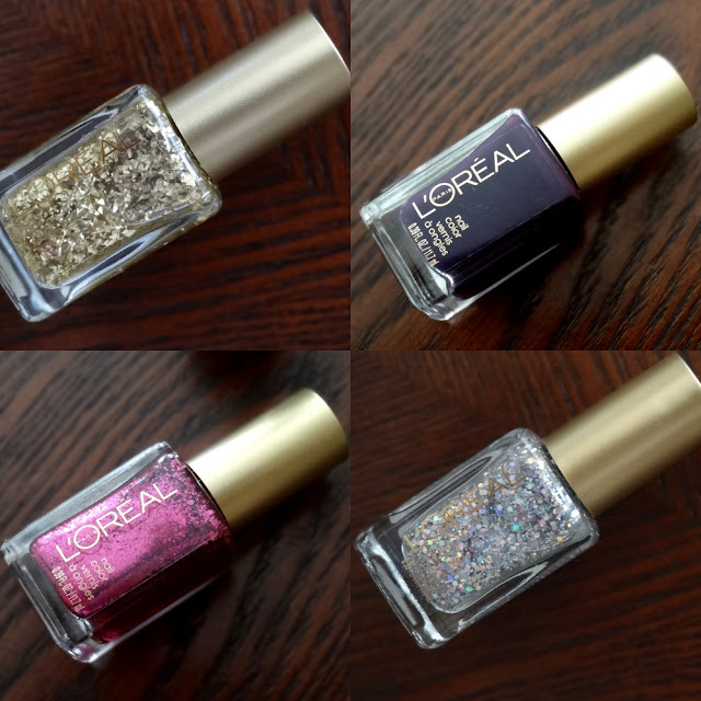 L'Oreal Holiday Soiree Nail Polish Collection 24 Carat, Almost Midnight, Snow Globe, Pink Party Dress