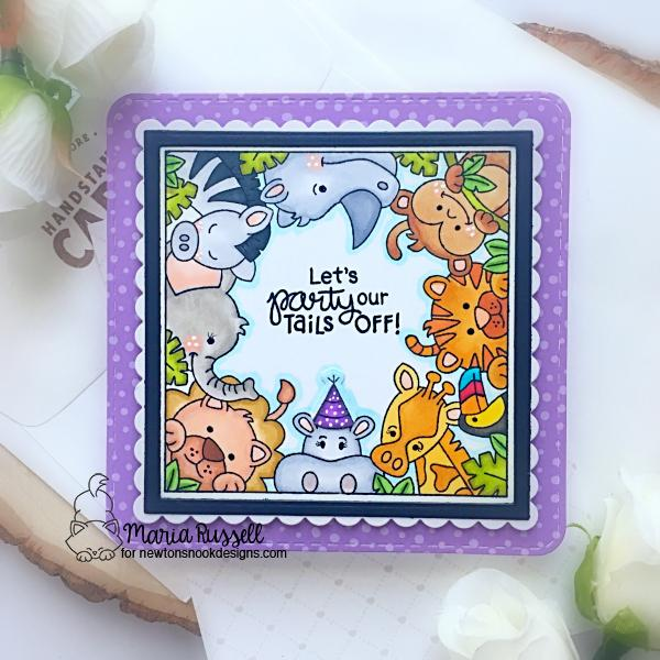 Zoo Birthday card by Maria Russell | Zoo Party Stamp Set and Frames Squared Die Set by Newton's Nook Designs #newtonsnook #handmade