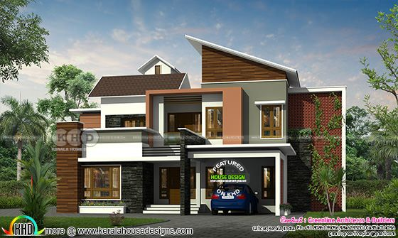 2790 sq-ft 4 BHK mixed roof house plan
