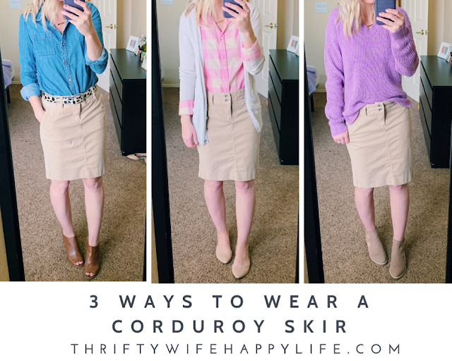 3 Ways to Wear a Corduroy Skirt