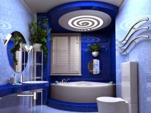 10 ba os modernos en color azul colores en casa for Banos azules y grises