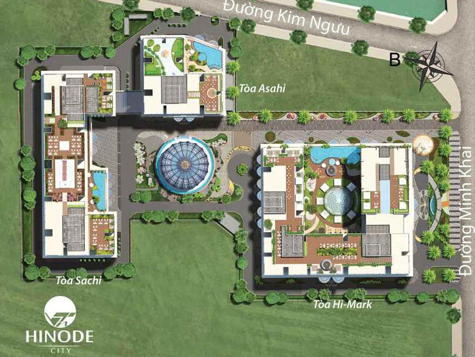 Bố cục toàn khu dự án và vị trí các tòa tháp