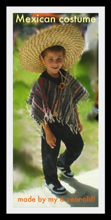 meggipeg Ikea rug to Mexican poncho costume