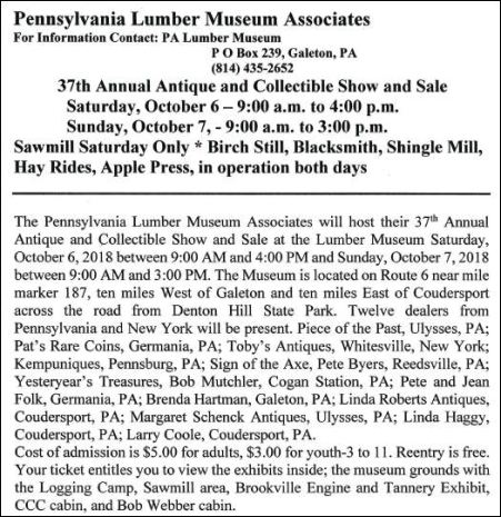 10-6/7 Antique & Collectible Show & Sale, Lumber Museum