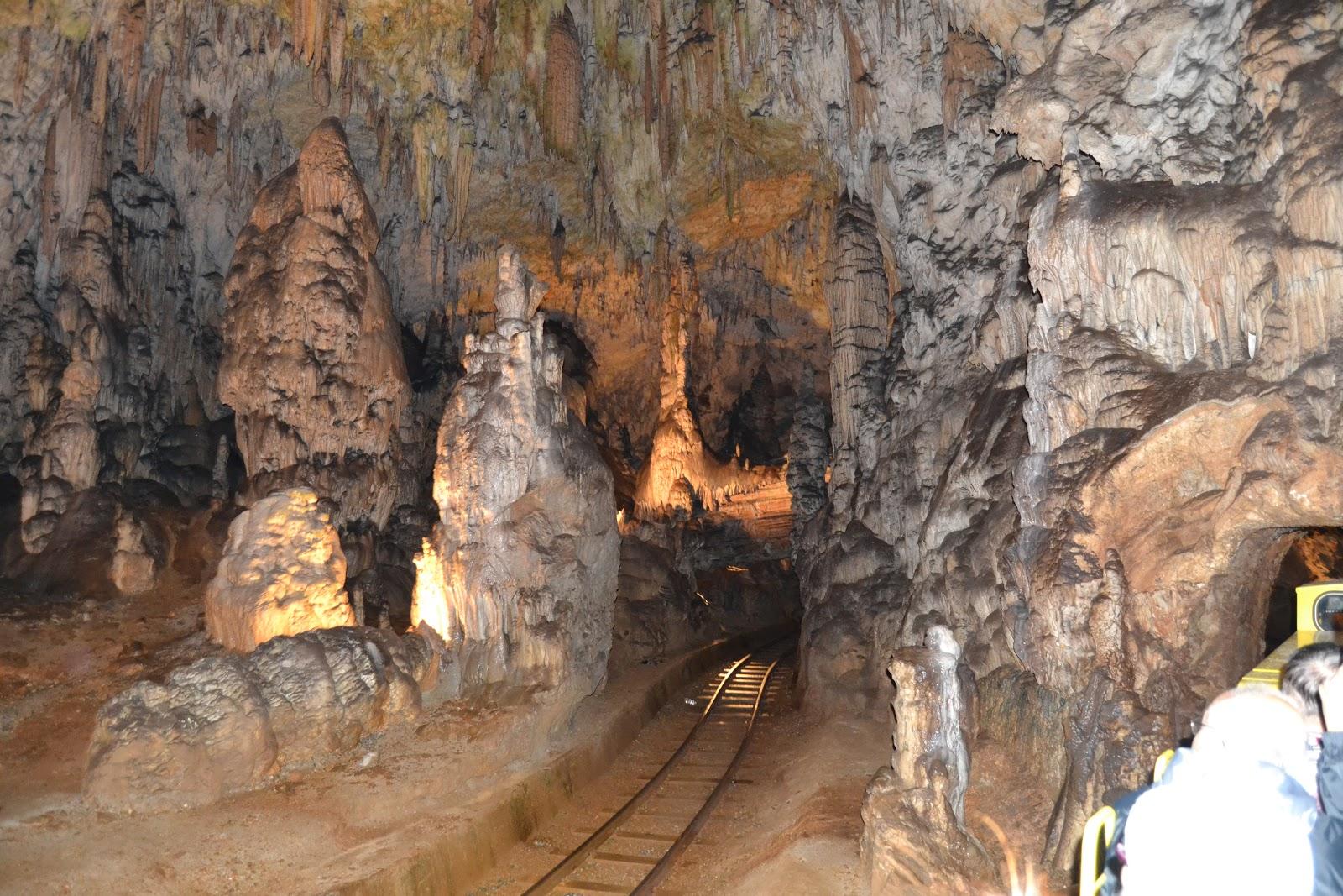 Train track in the Postojna Cave