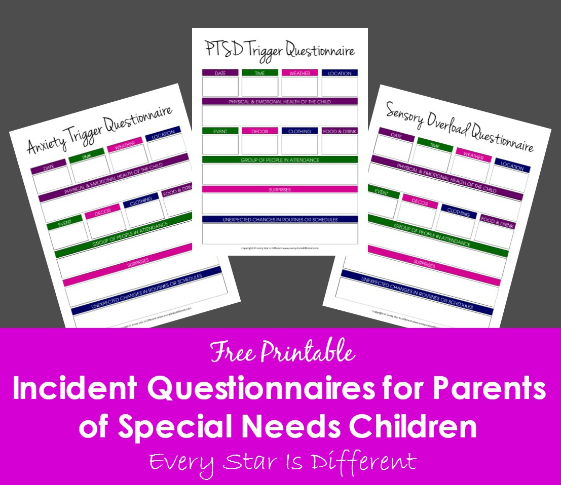 Incident Questionnaires for Parents