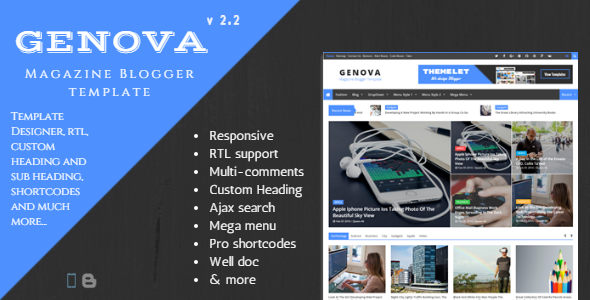 Free Download Genova V2.3 - News & Magazine Responsive Blogger Template