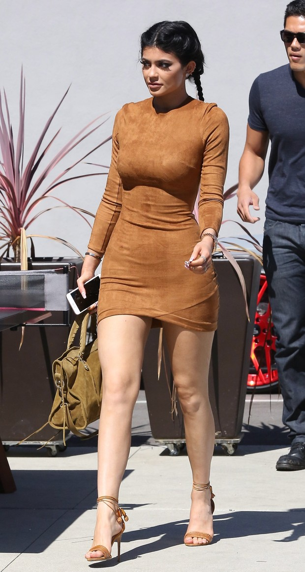 Kylie Jenner wears blue contact lens for lunch with boyfriend Tyga