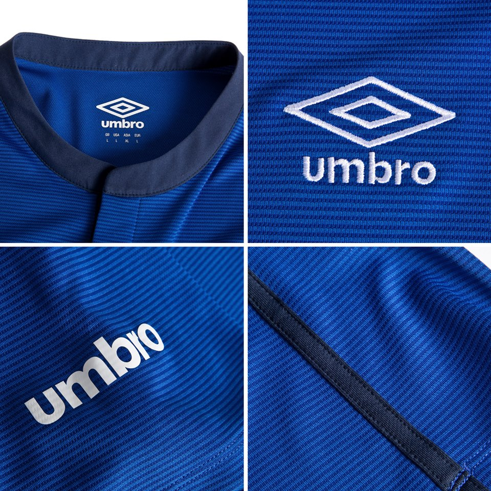 844439e4ebe The classical Umbro logo is placed on the right chest of the new Everton  2014-2015 Home Shirt, while the new 14-15 Everton crest is positioned on  the left ...