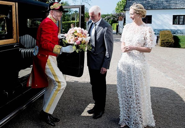 Princess Alexandra is wearing the Ahlefeldt-Laurvig-Bille floral tiara, wedding lace dress. Princess Nathalie and Princess Sumaya