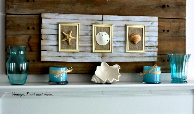 Vintage, Paint and more... using shims as wall art, seashell wall art, mod podge vases