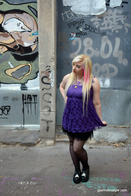 goth girl purple lace dress pink hair skull creepers