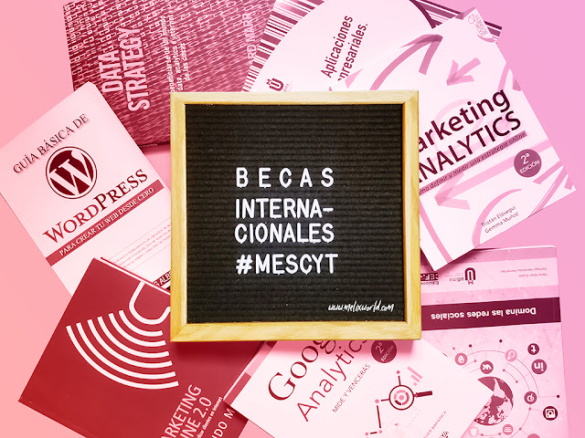 "Una pizarra de fieltro en donde se lee ""Becas Internacionales MESCyT"", con libros de Marketing Digital y Social Media en el fondo"