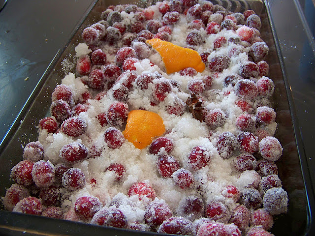 Boozy Cranberries ready for the oven