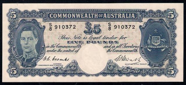 Australian Five Pounds banknote 1949 King George VI