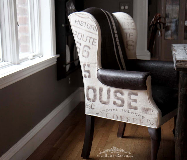 Stenciled Subway Art Dining Chairs w/ Old Sign Stencils, Bliss-Ranch.com